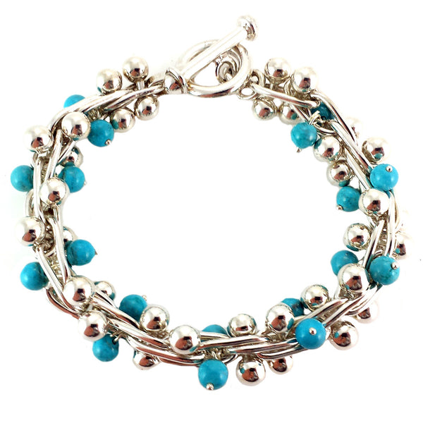 Sterling Silver Turquoise Berries Bracelet