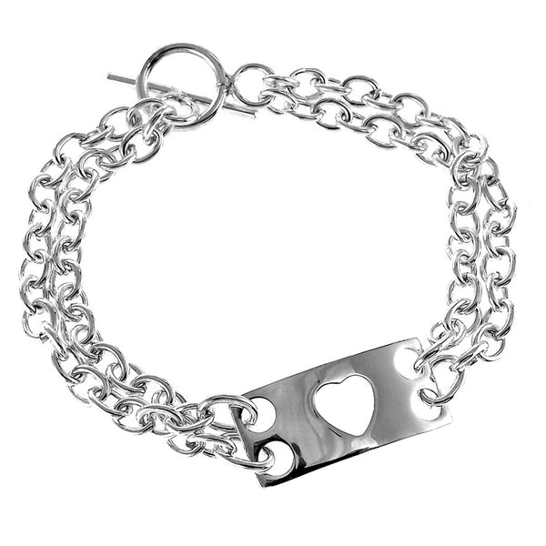 Sterling Silver Heart Plaque Bracelet