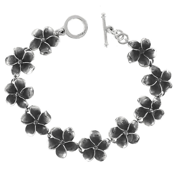 Sterling Silver Oxidized Flowers Toggle Bracelet