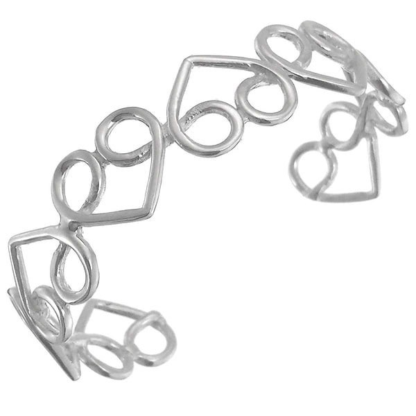 Sterling Silver Hearts Cut Out Cuff Bracelet