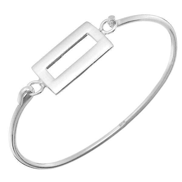 Sterling Silver Rectangle Plaque Openable Bangle Bracelet