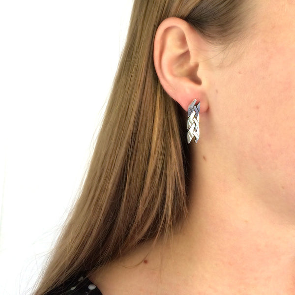 Sterling Silver Zig-Zag Puzzle Earrings