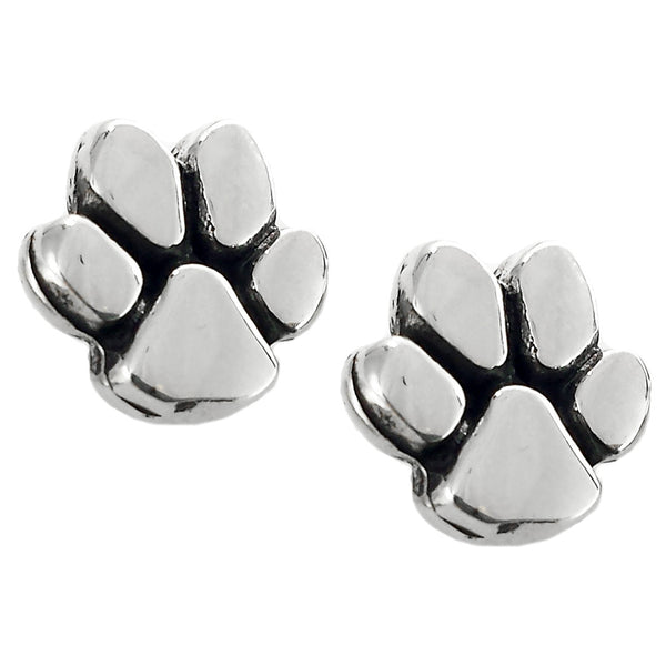 Sterling Silver Dog Paw Earrings
