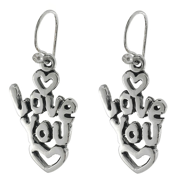 Sterling Silver Oxidized Love You Earrings