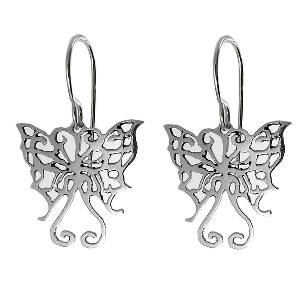 Sterling Silver Cut Out Butterfly Drop Earrings