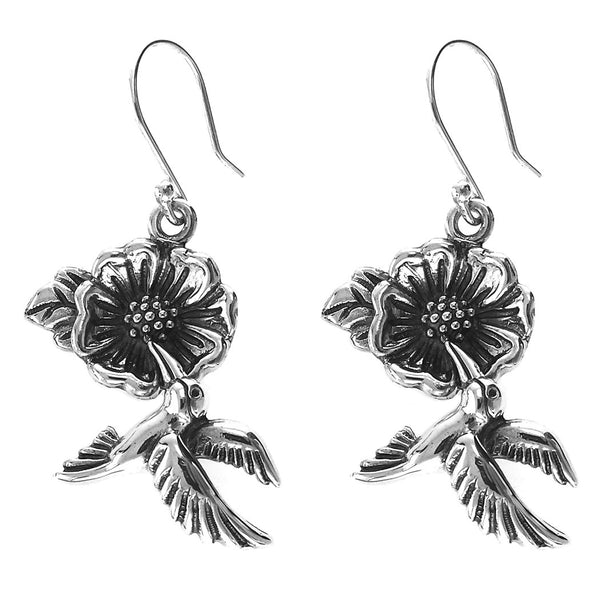 Sterling Silver Hummingbird and Flower Earrings