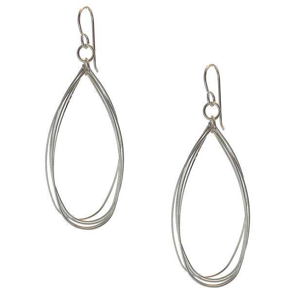 Sterling Silver Long Elongated Double Hoop Earrings