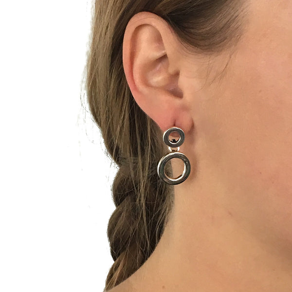 Sterling Silver Front Facing Double Circle Drop Earrings