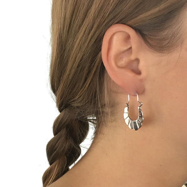 Sterling Silver Front Facing Hoop Earrings