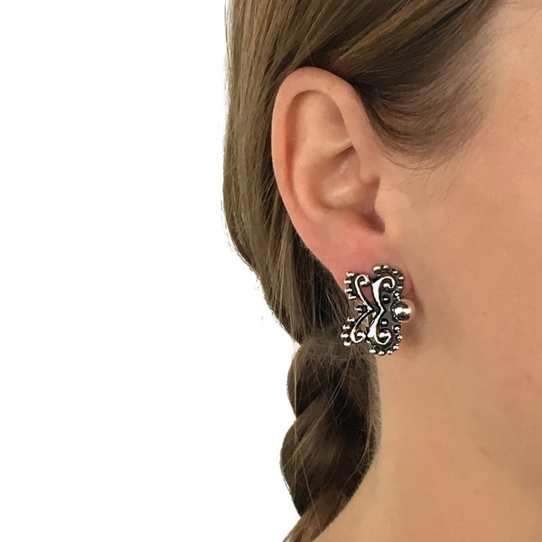 Sterling Silver Bow Clip On Earrings