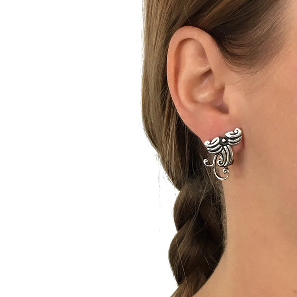 Sterling Silver Flowers Clip On Earrings
