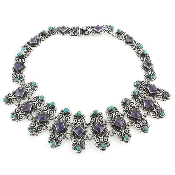 Sterling Silver Amethyst & Turquoise Necklace 97g