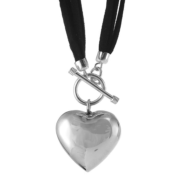 Sterling Silver and Suede Heart Necklace