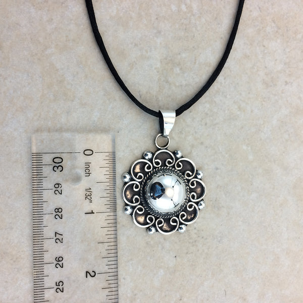 Sterling Silver Baroque Flower Pendant