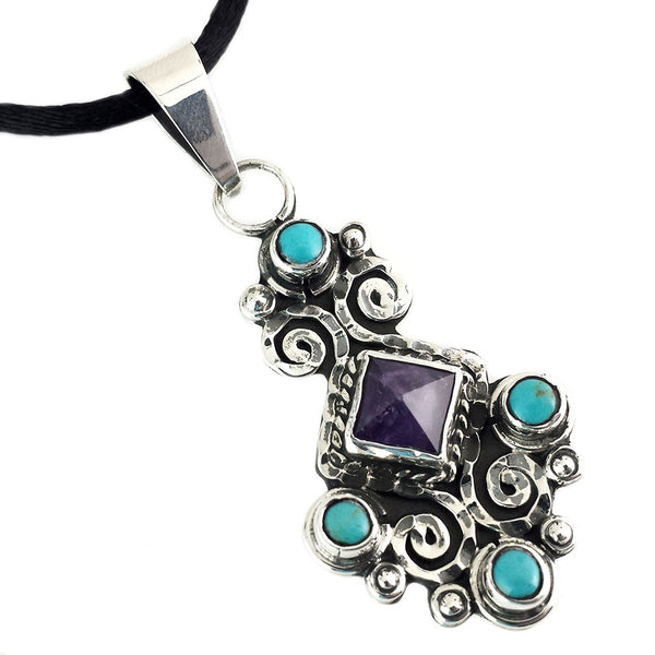 Sterling Silver Amethyst  Turquoise Pendant