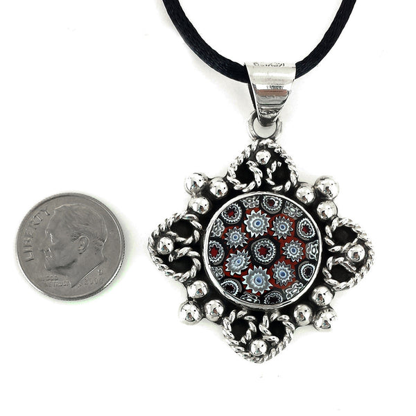 Sterling Silver Baroque Style Glass Pendant