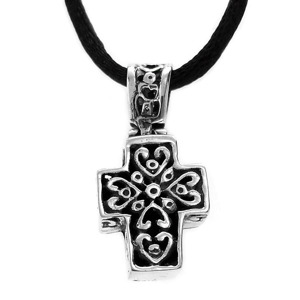 Sterling Silver Hearts Cross Pendant