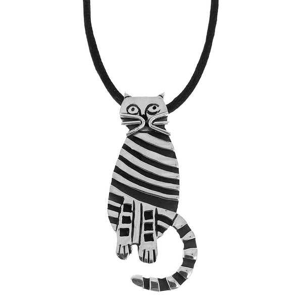 Sterling Silver Oxidized Cat Pendant