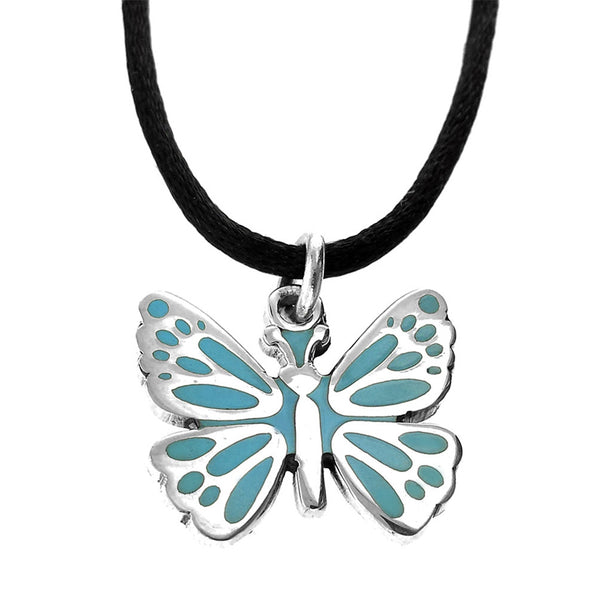 Sterling Silver Blue Resin Butterfly Pendant