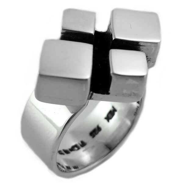 Sterling Silver Mosaic Diamond Shapes Ring