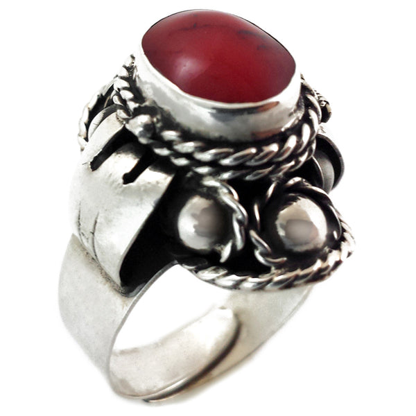 Sterling Silver Jasper Poison Ring Adjustable