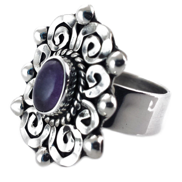 Sterling Silver Baroque Amethyst Ring Adjustable