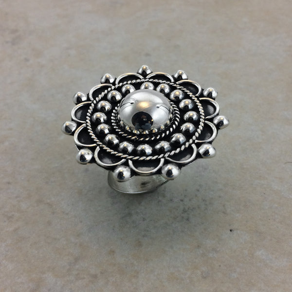 Sterling Silver Pressed Beads Ring Adjustable
