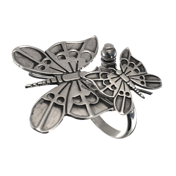 Sterling Silver Butterflies Ring Size 7.5
