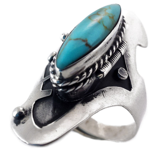 Sterling Silver Poison Ring Sterling Silver & Turquoise - Adjustable