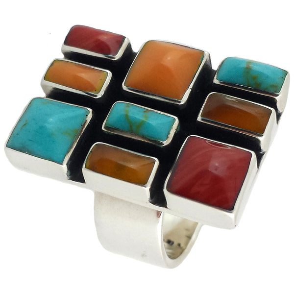 Sterling Silver Autumn Mosaic Ring Adjustable