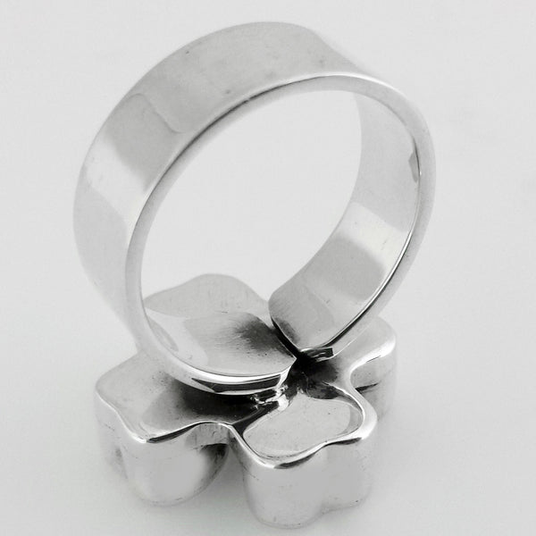 Sterling Silver Lucky Clover Ring, Adjustable
