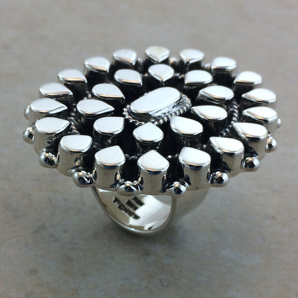 "Sterling Silver Large 1 3/4"" Mosaic Ring"