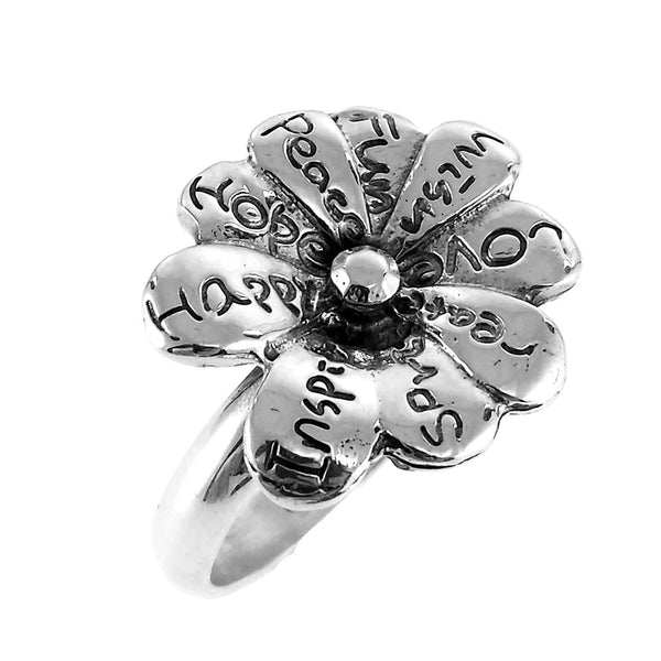 Sterling Silver Hope Happy Inspire Spirit Create Love Wish Fun Flower Ring Size 6.5