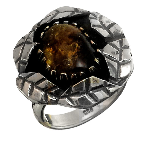 Sterling Silver and Amber Handmade Ring, Size 7.5