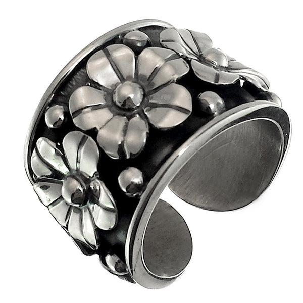 Sterling Silver Flowers Ring Adjustable