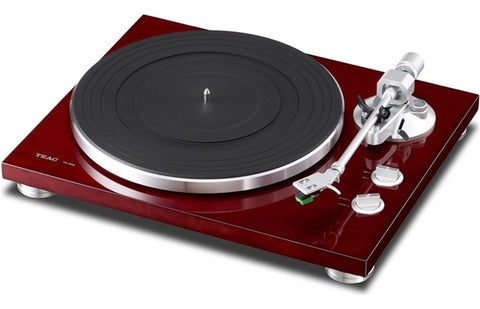 TEAC TN-300 Turntable w/pre-installed cartridge, built-in phono (switchable), and USB output (cherry)