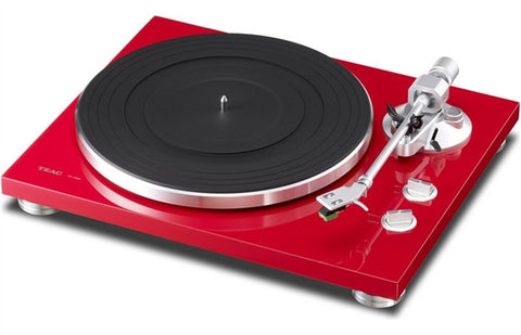 TEAC TN-300 Turntable w/pre-installed cartridge, built-in phono (switchable), and USB output (red)
