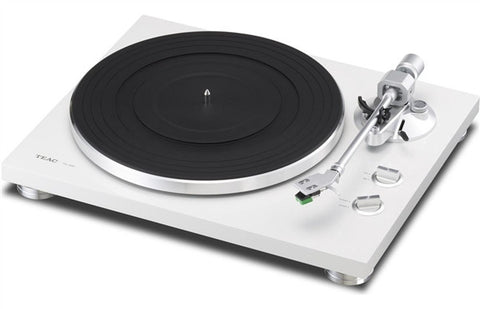 TEAC TN-300 Turntable w/pre-installed cartridge, built-in phono (switchable), and USB output (white)