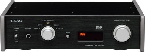 TEAC UD-501DA dual-mono D/A converter with 32bit/384kHz PCM, 5.6mhz native support, and Asynchronous transfer mode.  *Black or Silver