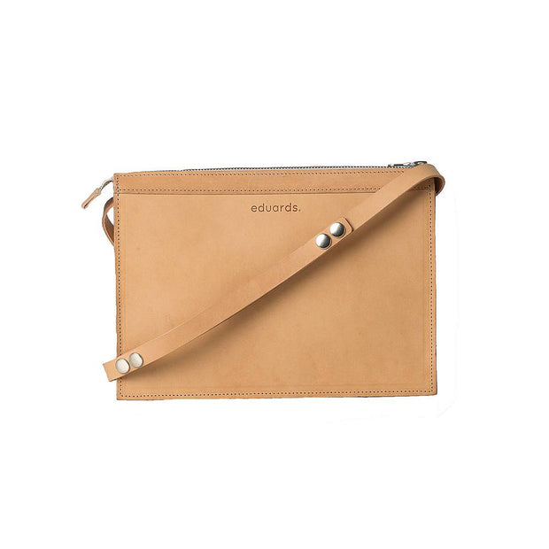 Näver Small Shoulder Bag in Leather, Nature - Blabar
