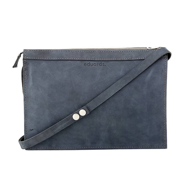 Näver Small Shoulder Bag in Leather, Oily Navy Nubuck