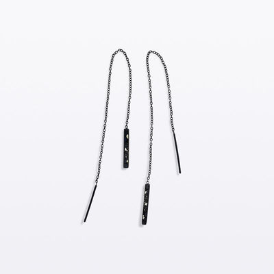 Oblong Chain Earring Black Rhodium - Blabar
