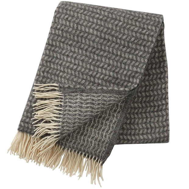 Leaf Woven Throw, Dark Grey Merino & Lambswool