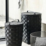 Basket w. Lid, Edition Woven Wood chip in Black, 2 sizes
