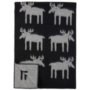 Reindeer Moose Blanket, Wool in Black/Grey