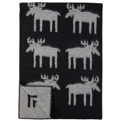 Reindeer Moose Blanket, Wool in Black/Grey - Blabar
