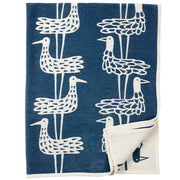 Shore Birds Blanket in Blue, Organic Cotton - Blabar
