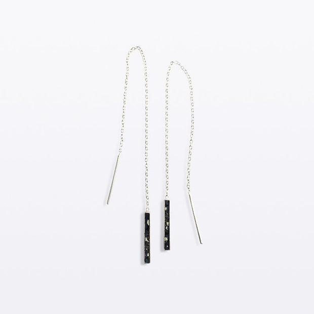 Oblong Chain Earring Silver - Blabar