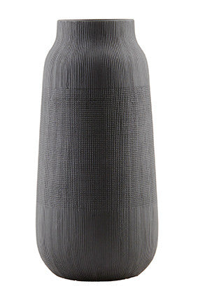 Vase Groove in Clay Tall, Black