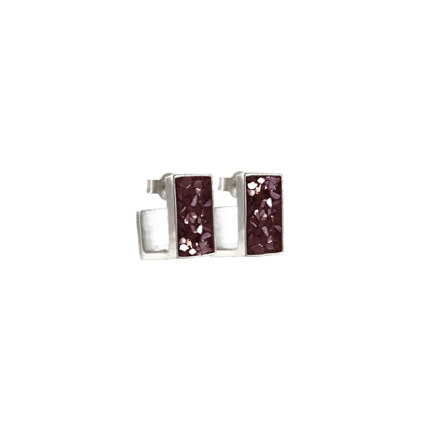 Burgundy Oblong J Diamond Earrings in Silver - Blabar